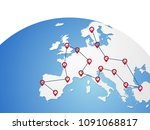 europe vector map on world... | Shutterstock .eps vector #1091068817