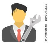 a person with tool showing him ...   Shutterstock .eps vector #1091091683