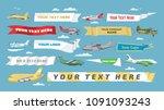 plane banner vector airplane or ... | Shutterstock .eps vector #1091093243