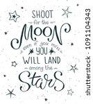 shoot for the moon poster hand... | Shutterstock .eps vector #1091104343