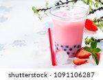 refreshing homemade iced milky... | Shutterstock . vector #1091106287