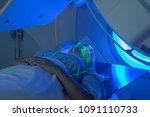woman receiving radiation...   Shutterstock . vector #1091110733