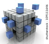 3d Illustration of design created by cubes - stock photo