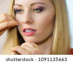 visage concept. close up woman...   Shutterstock . vector #1091135663