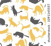 Stock vector seamless pattern with yellow and gray cats vector illustration 1091145557