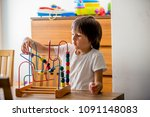 preschool child  playing with... | Shutterstock . vector #1091148083
