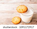 cookies and a glass of milk on ...   Shutterstock . vector #1091172917