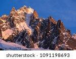 sunset on the chamonix needles  ... | Shutterstock . vector #1091198693