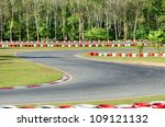 Karting - turn on a  empty open-air race car circuit - stock photo