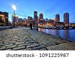 boston skyline with financial... | Shutterstock . vector #1091225987