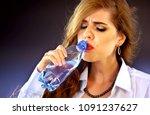 sensitive teeth woman drinking...   Shutterstock . vector #1091237627
