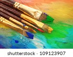 acrylic paint and brushes on... | Shutterstock . vector #109123907