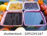 different fruit jam in...   Shutterstock . vector #1091241167
