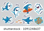 sharks catoon characters in... | Shutterstock .eps vector #1091248637