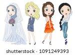 set of hand drawn beautiful... | Shutterstock .eps vector #1091249393