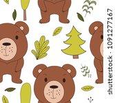 cute woodland animals in... | Shutterstock .eps vector #1091277167