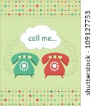 love card with vintage phone.... | Shutterstock .eps vector #109127753