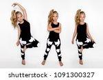 cute blonde little girl in... | Shutterstock . vector #1091300327