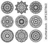 isolated mandala in vector.... | Shutterstock .eps vector #1091307863