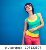 Funky summer portrait of a beautiful girl - stock photo
