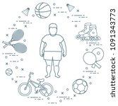 fat boy  badminton rackets and... | Shutterstock .eps vector #1091343773