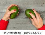 table top view on woman hands... | Shutterstock . vector #1091352713