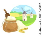 flour sack and rural field with ... | Shutterstock .eps vector #1091366087
