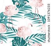 exotic pink flamingo birds rose ...   Shutterstock .eps vector #1091376233