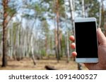 phone in hand on the spring... | Shutterstock . vector #1091400527