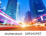 the light trails on the modern... | Shutterstock . vector #109141937