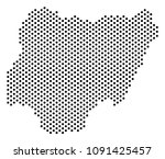 dotted nigeria map. vector... | Shutterstock .eps vector #1091425457