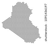 dotted iraq map. vector... | Shutterstock .eps vector #1091436197