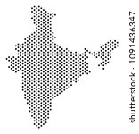 dotted india map. vector... | Shutterstock .eps vector #1091436347