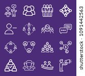 set of 16 group outline icons... | Shutterstock .eps vector #1091442563