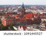 Stock photo beautiful super wide angle summer aerial view of hannover germany lower saxony seen from 1091445527