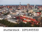 Stock photo beautiful super wide angle summer aerial view of hannover germany lower saxony seen from 1091445533