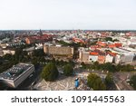 Stock photo beautiful super wide angle summer aerial view of hannover germany lower saxony seen from 1091445563