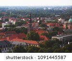 Stock photo beautiful super wide angle summer aerial view of hannover germany lower saxony seen from 1091445587