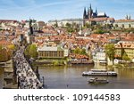 Pargue , view of the Lesser Bridge Tower of Charles Bridge (Karluv Most) and Prague Castle, Czech Republic. - stock photo