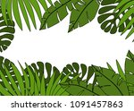 summer background with tropic... | Shutterstock . vector #1091457863