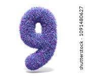purple faux fur number 9 nine...   Shutterstock . vector #1091480627