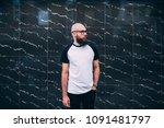 hipster man with beard wearing... | Shutterstock . vector #1091481797