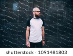 hipster man with beard wearing... | Shutterstock . vector #1091481803