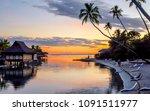 tropical sunset in moorea ... | Shutterstock . vector #1091511977
