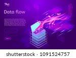 data flow design concept.... | Shutterstock .eps vector #1091524757