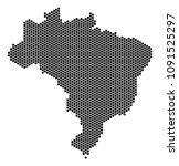 hex tile brazil map. vector... | Shutterstock .eps vector #1091525297