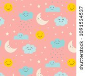 smiling cute clouds pattern... | Shutterstock .eps vector #1091534537