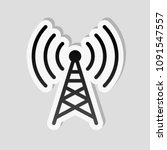 radio tower icon. linear style. ... | Shutterstock .eps vector #1091547557