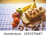 banana cake with cashew nuts ... | Shutterstock . vector #1091570687