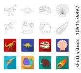 prehistoric shell  dinosaur... | Shutterstock .eps vector #1091576897